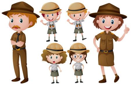 Park rangers in uniform illustration Illustration