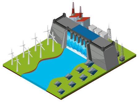 the greenhouse effect: Dam with turbines and solar cells illustration Illustration