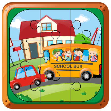 Jigsaw puzzle game with kids on bus illustration