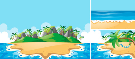 Summer scenes with ocean and beach illustration
