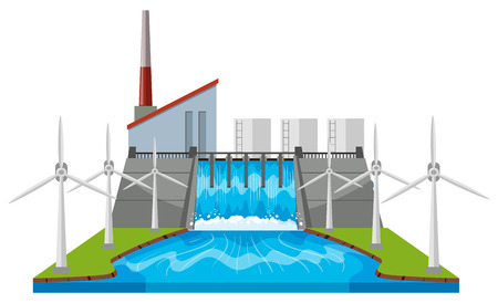 the greenhouse effect: Dam and wind turbines by the river illustration