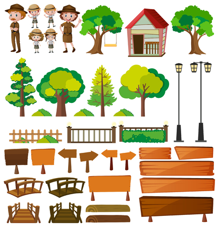 Park rangers and tree products illustration