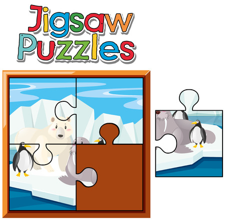 Jigsaw puzzle game with animals in Northpole illustration