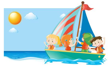 Summer scene with kids sailing illustration  イラスト・ベクター素材