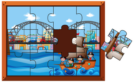 Jigsaw puzzle pieces of kids on ship illustration Illustration