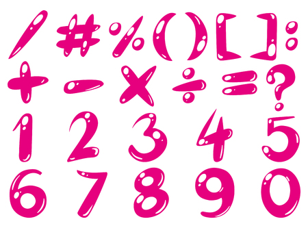 Font design for numbers and signs in pink illustration