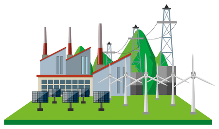 Power plants and wind turbines in the field illustration