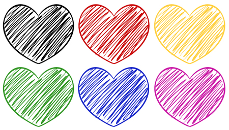 Six hearts in different colors illustration