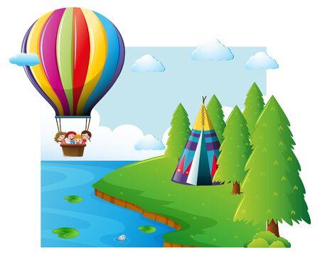 Scene with kids flying on balloon illustration Illustration