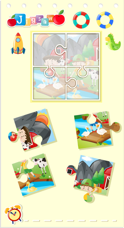 Jigsaw puzzle game with kids in farm illustration Illustration