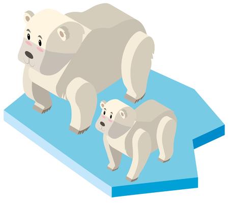 Ijsbeer en welp op ijsillustratie Stock Illustratie