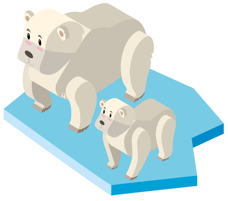 Polar bear and cub on ice illustration