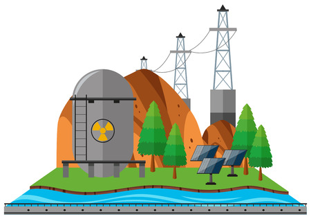 Power lines and fuel tank by the river illustration