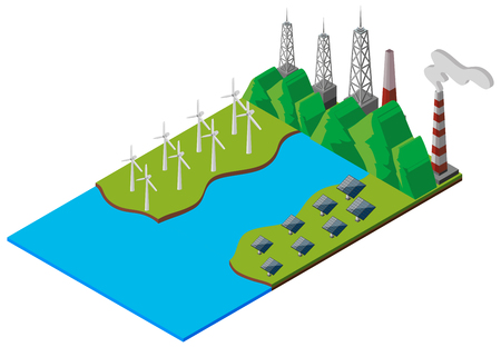 the greenhouse effect: Wind turbines and solar cell by the stream illustration Illustration