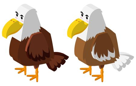 Two eagles in 3D design illustration