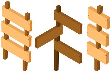 Three designs of wooden signs illustration Illustration
