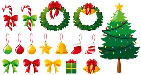 クリスマス ツリーと多く飾りイラスト