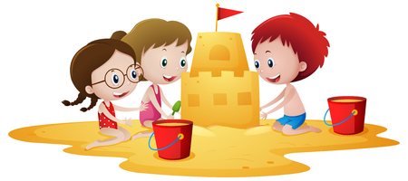 Kids building sandcastle on the beach illustration