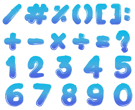 Numbers and signs in blue color illustration