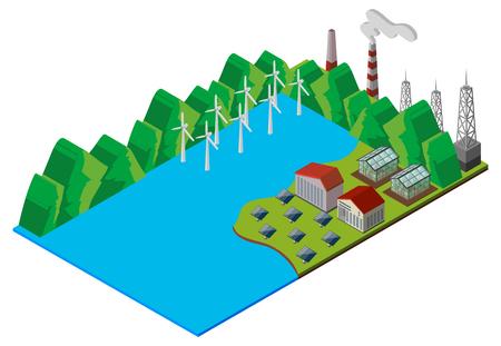 Wind turbines in the lake  illustration
