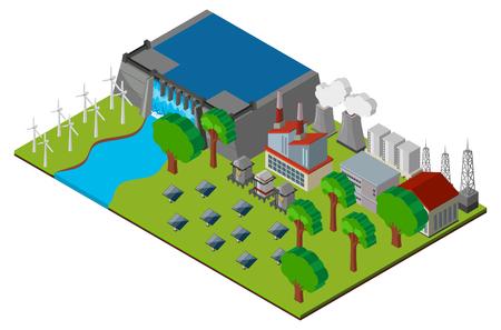 ダムと発電所のイラスト シーン
