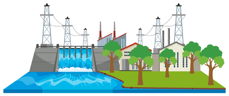 Dam and electricity buildings by the river illustration