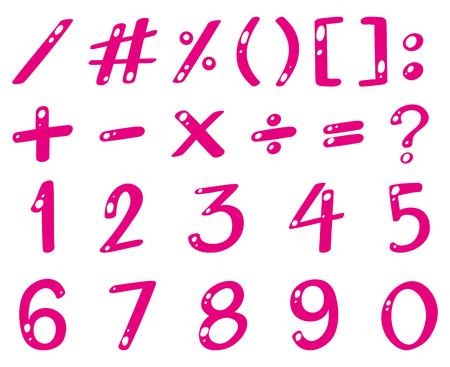 数字や記号の図のピンクのフォント
