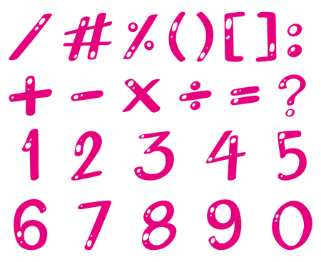 Pink font for numbers and signs illustration
