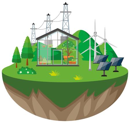 Illustratie van broeikas- en windturbines Stock Illustratie