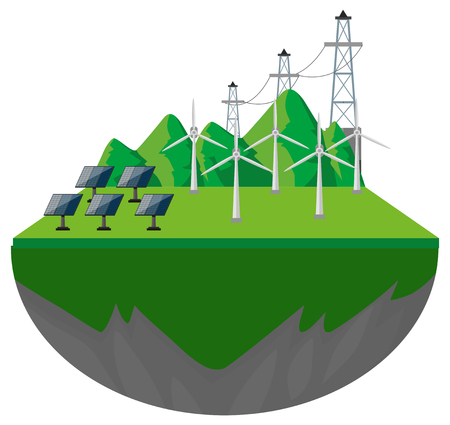 Wind turbines and solar cells on the ground illustration