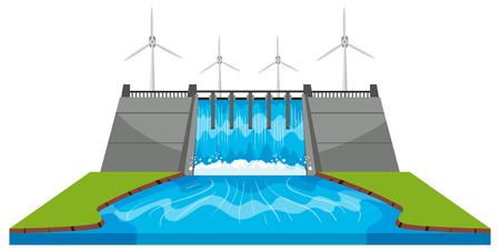 Windmühlen und Damm mit Strömen Illustration