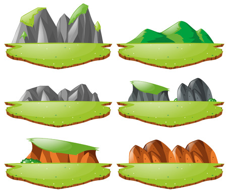 Different landforms for plains and mountains illustration