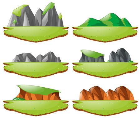 Different landforms for plains and mountains illustration Illustration