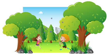 Park scene with two kids catching butterfly illustration