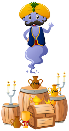 Blue giant flying out of lamp illustration