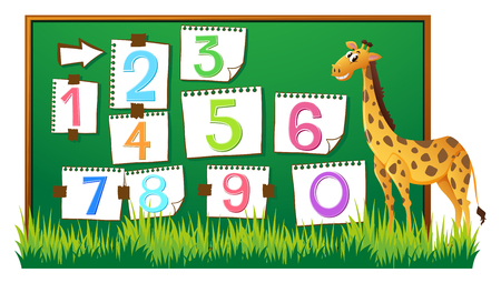 Counting numbers on board with giraffe illustration
