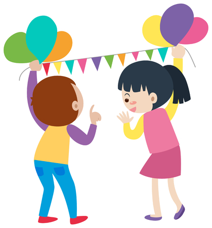 Boy and girl putting up balloons illustration
