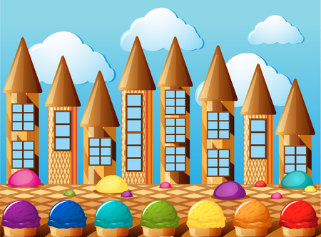 Candy towers and icecream with different flavors illustration Illustration