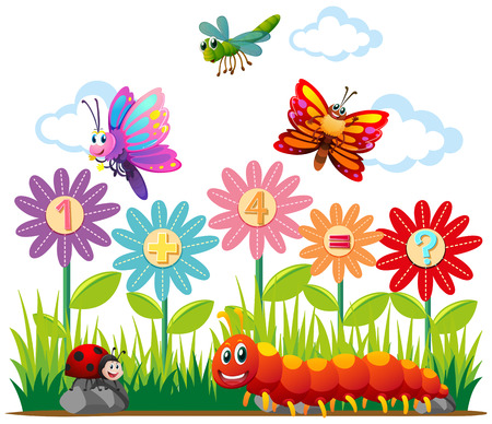 Insects and addition question illustration Illustration