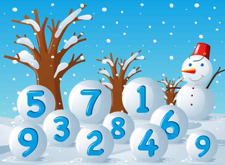 Scene with numbers on snow balls illustration