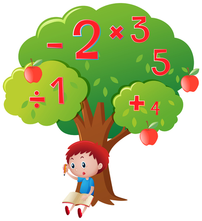 multiplication: Boy calculating numbers under big tree illustration