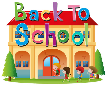 Back to school theme with kids going to school illustration Illustration