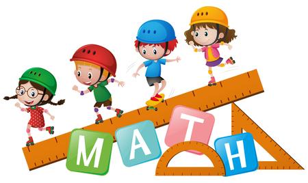 Four kids rollerskates on ruler illustration