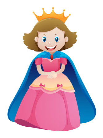 niños actuando: Princesa en vestido rosa ilustración