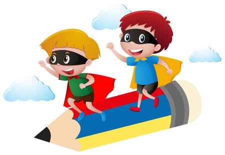 Boy in hero costume flying on pencil illustration