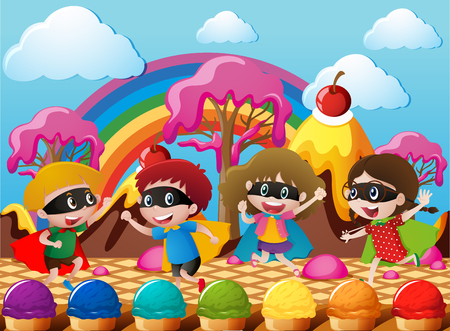rainbow sky: Happy children in hero costume in candyworld illustration