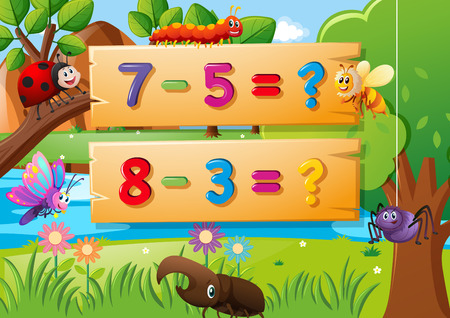 Subtraction questions and many bugs illustration