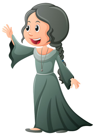 Woman in medieval style costume illustration Illustration
