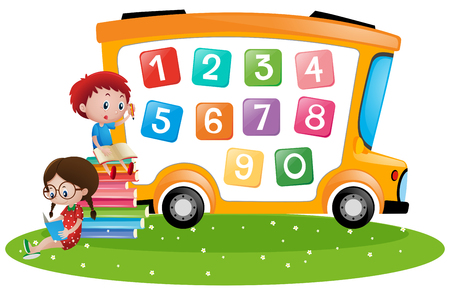 Boy and girl counting numbers illustration