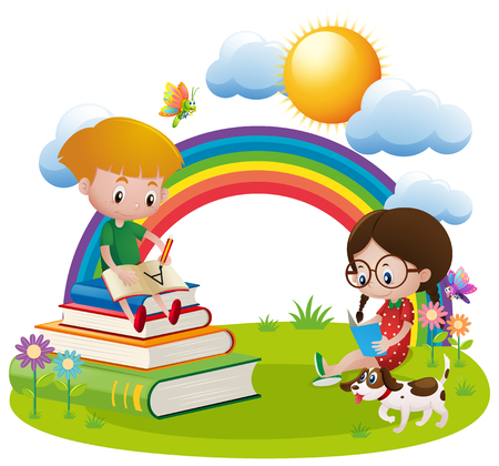 Two kids reading and writing in garden illustration Illustration